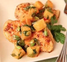 Tropical Chicken. Lets Throw a Little Island Flavor Our Way!  A very simple recipe bring a little flavor of the islands into the dish. Just a few ingredients giving it a little sweet and savory tang topped of with cilantro notes.....   | Creative Elegance Catering