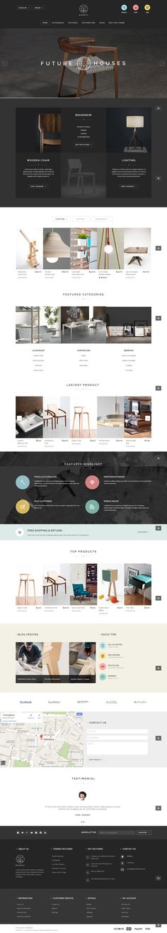 Furniture OpenCart theme with minimalist and futuristic layout, demo startup, unlimited color schemes, one page check out, live search, zoom, quick view...