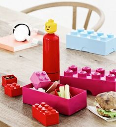 "Lego lunchbox.   This could easily be DIY'ed, perfect for ""brown bag"" lunches at a party."