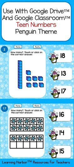 For Google Drive™️ or Google Classroom™️, students identify teen numbers with tens blocks and ten frames.  The penguin frame is perfect for winter. Kindergarten Math, Teaching Math, Maths, Teaching Ideas, Teen Numbers, Technology Lessons, Ten Frames, First Grade Math, Classroom Activities
