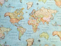 World Map Sky Blue 3 Designer Curtain Upholstery Cotton Fabric Material - World Map Print Canvas - Wide - World Map Sky Blue 3 Fabric Decor, Fabric Design, World Map Fabric, World Map With Countries, World Map Wallpaper, World Map Decal, Map Art, Fabric Material, Printing On Fabric
