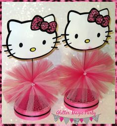 Hello Kitty Centerpieces - Hello Kitty Inspired Party - Hello Kitty Decoration - Pink Leopard - Hello Kitty Leopard Party - SET OF 2 by GlitterMagicParty, $25.99 USD