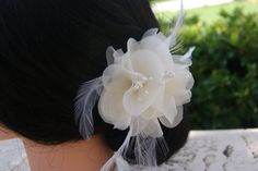 small ivory bridal hair flower with floral stamens by BridesBoutik, $24.90