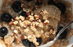 TIU Oatmeal with blueberries, walnuts, almond butter, and maple syrup