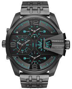 Diesel Men's Chronograph Uberchief Gunmetal Ion-Plated Stainless Steel Bracelet Watch 55x62mm DZ7372