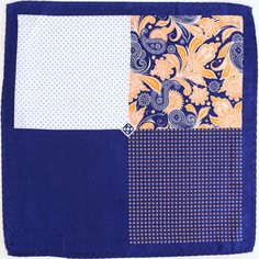 The Role Model - Immediately set the trend with this Fourway Pocket Square of classic navy mixed against vibrant mandarin in a floral paisley design and dotted quadrants.