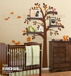 Love: wall art + decal > Kids Wall Decal Wall Sticker tree decal Vinyl decal  - Shelving Tree with animal - Nursery Decal- KK125. $82.00, via Etsy.