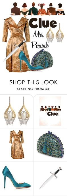 """""""Mrs. Peacock from Clue"""" by laniocracy ❤ liked on Polyvore featuring Ana Khouri and Charlotte Olympia"""
