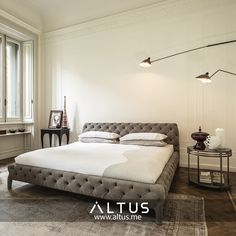 Windsor Dream bed by Arketipo Firenze, designed by Manzoni e Tapinassi, made in Italy. www.Altus.me #Home #InteriorDesign #Furniture #Luxury #Interiors #Design #HomeDecor #Bed #Bedroom #Altus #Beirut #Lebanon #MadeInItaly