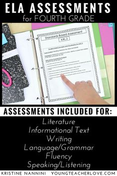 4th Grade ELA Assessments - Help your fourth graders with reading comprehension (literature and informational text), writing, language, grammar, plus speaking & listening with this great download. You get an entire supplemental program you can use with your current curriculum. Teaching notes, I can statements, assessments, reading passages, poems, multiple choice options, and much more is included! Great for year round study or text prep! #4thGrade
