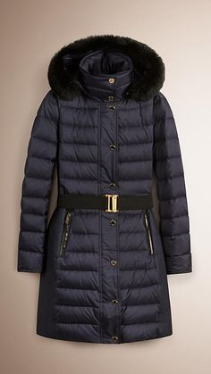 Navy Down-filled Coat with Fur Collar - Image 1