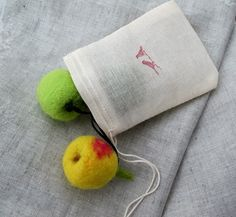 Set of three hand felted APPLE ornaments by MyLittleKawaii on Etsy, $14.99