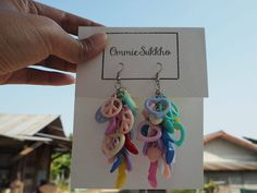colorful pastel  dangle  earrings/ hook earrings/ handmade earrings/ custom made earrings by ommiesukkho on Etsy