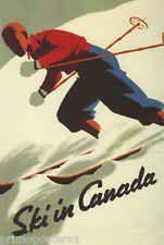 SKI WINTER SPORT SKIING IN CANADA MOUNTAIN TRAVEL TOURISM VINTAGE POSTER REPRO