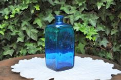 Antique blue blown glass bottle  Heavy and by LaBourgognedeNath