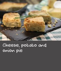 Cheese, potato and onion pie |      The rich pastry in this cheese pie is very tender and almost melts into the filling beneath. Serve this as a meat-free main course, with some steamed greens or a big bowl of salad.