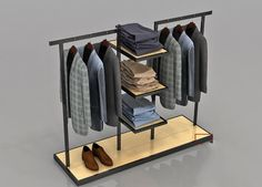 High End Clothing Gondola Retail Display Shelving - Boutique Store Fixtures Manufacuring, Retail Shop Fitting Display Furniture Supply Retail Clothing Racks, Clothing Store Interior, Clothing Store Displays, Shop Displays, Merchandising Displays, Showroom Interior Design, Boutique Interior, Retail Interior, Support Tringle