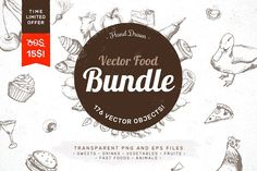 Hand Drawn Vector Food Bundle by MonstroCity on @creativemarket