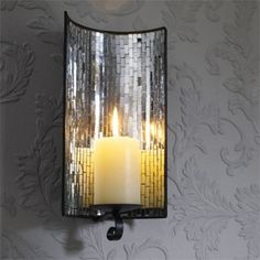 mosaic mirrored candle wall sconce shop home kaboodle