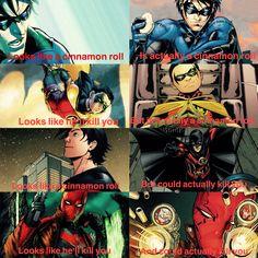 Batfam boys (Nightwing: Dick Grayson, Robin: Damian Wayne, Red Robin: Tim Drake and Red Hood: Jason Todd)