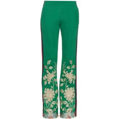 Gucci Embroidered slim-leg track pants ($1,670) ❤ liked on Polyvore featuring pants, bottoms, gucci, trousers and green