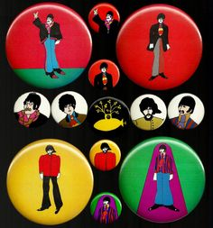 TOMBOLARE — Yellow Submarine badges, c. 1968 Famous Movies, Cool Pins, Yellow Submarine, Jim Morrison, Eric Clapton, George Harrison, The Beatles, Original Beatles, Vintage Tags