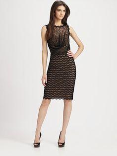 Tadashi Shoji Lace Dress - beautiful mix of textures, gorgeous color, unique design.
