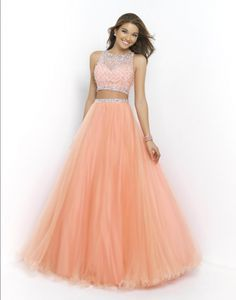Size 6 Coral Pink Pink by Blush 5400- Two piece sleeveless ball gown with beaded illusion bodice