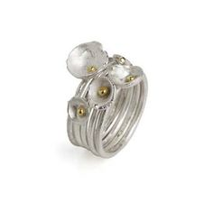 Shimara Carlow, Scotland, 5 Acorn Cup Rings, sterling silver and 18ct gold