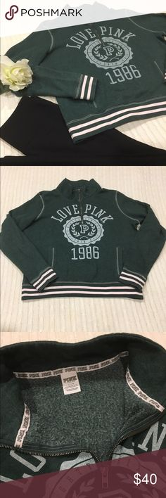 PINK Victoria's Secret half zip pullover sweater L Excellent condition! Dark green with white lettering and light pink stripes. No holes or pilling, and no discoloration on the sleeves. True to size. Feel free to make an offer 😊 PINK Victoria's Secret Sweaters