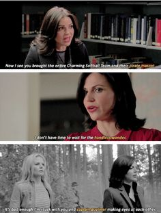 I think Regina secretly likes him (just in a friendly way, if she were ever to show it), so puts him down every chance she gets LOL