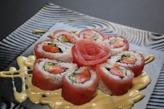 Artistic presentation of sushi..