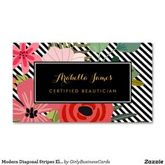 modern diagonal stripes elegant floral beautician business card - Girly Business Cards