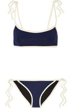 Solid and Striped | + Poppy Delevingne two-tone bikini | NET-A-PORTER.COM