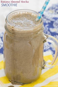 Banana Almond Mocha Smoothie recipe - satisfy your Starbucks Frappuccino cravings in a healthy way with this chocolate and coffee-flavored smoothie for breakfast, snack, or dessert. | cupcakesandkalechips.com