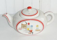 Vintage Teapot  Red and White with Flower by TheVintageDresser, $19.00