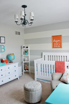 Nursery colors: white furniture with grey, aqua, and I would add yellow instead of orange/red. Love the ideal of thick horizontal stripes - maybe leave gray below the chair rail and do aqua/white stripes above?