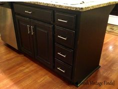 Oak Kitchen Cabinets in Annie Sloan Chateau Grey and Reclaim Licorice Part 1 - Farm Fresh Vintage Finds