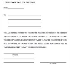 Notice Of Eviction Letter Template  Seeabruzzo   Day Eviction