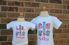 Big Sister Little Sister Personalized Matching Shirts SHORT sleeves. $42.95, via Etsy.