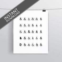 Instant Download - Ampersand - Typographic Print - Art Prints and Posters