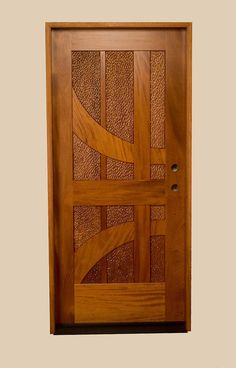 Custom Made Mahogany Entrance Door With Carved Panels