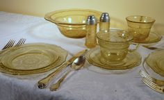 Patrician Spoke Amber Depression Glass Dinnerware. Isn't this set pretty? It's Patrician, also called Spoke, from Federal Glass made in the early 1930s.