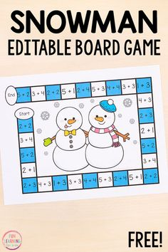 Use this winter activity to teach numbers, math facts , number sense, and more! Your kids will love playing this editable snowman board game! Add it to your winter math and literacy centers for lots of fun and learning this winter! Kindergarten Math Games, Fun Math, Preschool Activities, Math Art, Winter Activities, Literacy, Math Board Games, Math Crafts, Teaching Numbers