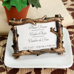 Fall Branch Place Card Holder/Photo Frame Adorable for a fall wedding or thanksgiving formal get together with friends and family! Wedding Favours Bridesmaids, Unique Wedding Favors, Wedding Party Favors, Bridal Shower Favors, Unique Weddings, Wedding Gifts, Wedding Decorations, Wedding Ideas, Prom Ideas
