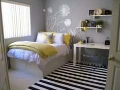 Teen Girl's Room -Gray Yellow Black and White Minimalist theme, Dandelion Decal serves as a headboard