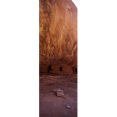 Dwelling structures on a cliff House Of Fire Anasazi Ruins Mule Canyon Utah USA Canvas Art - Panoramic Images (18 x 6)