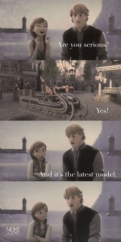 Anna looks so happy to give Kristoff his new sled ^-^