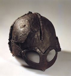 The only existing Viking Age helmet was found at a Norwegian burial site in1943, among objects which date back to the 900's. Chain mail, three swords, three axes, three spearheads, riding equipment, game pieces and dice were also found. It is believed that one of the buried men was a petty king from the Ringerike area.