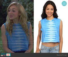 Emma's blue tie dye top on Bunk'd.  Outfit Details: http://wornontv.net/51017/ #Bunkd